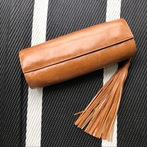 HOBO International brown leather clutch tassel